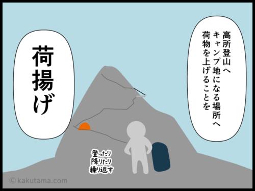 登山用語荷上げに関する四コマ漫画3