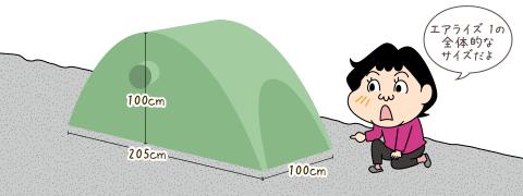 エアライズ1の全体的なサイズ