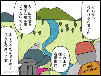 登山用語「右岸左岸」に関する4コマ漫画2