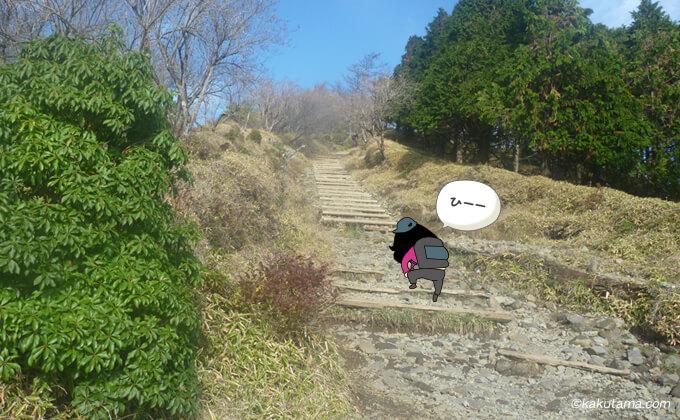 花立山荘からの急な階段