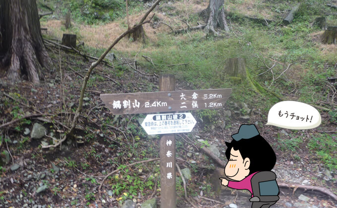鍋割山までの道標