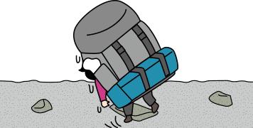 登山用テントを背負いながらふらふら歩くイラスト