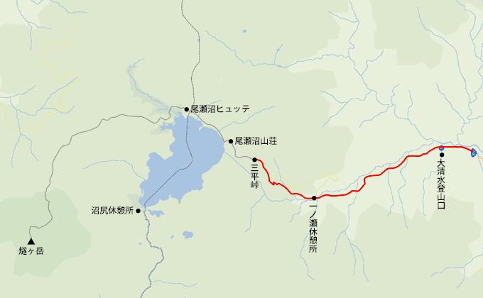 地図大清水登山口から三平峠