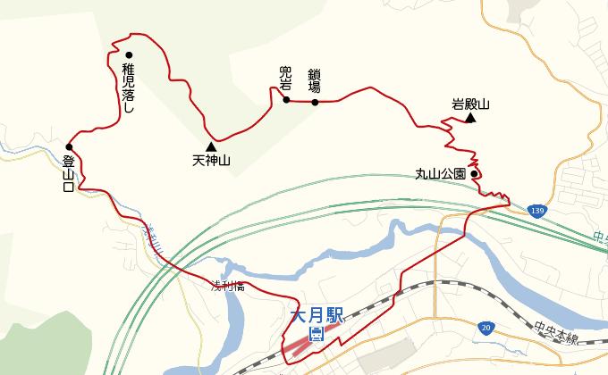 地図岩殿山登山ルート