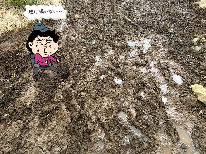 泥にまみれて困っている