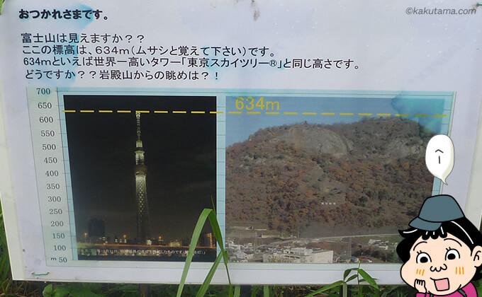 岩殿山はスカイツリーと同じ高さを示す看板