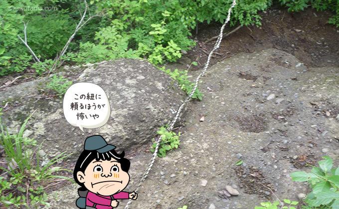 岩場と心もとない紐