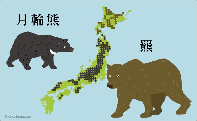 日本のクマの分布図