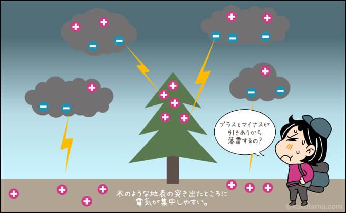 雷のプラスとマイナス電気が引き合う