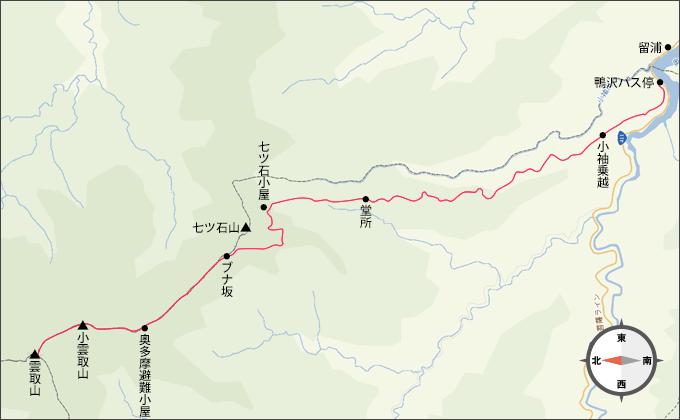 地図雲取山雲取山山頂から鴨沢バス停