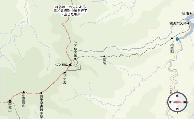 地図雲取山雲取山から峰谷