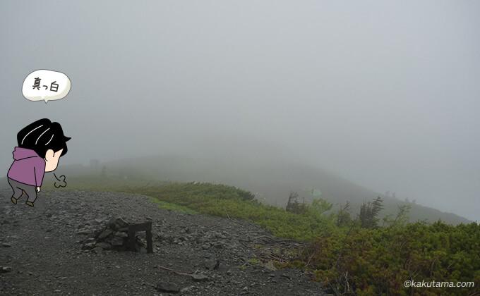 天候が回復しない蝶ヶ岳山頂