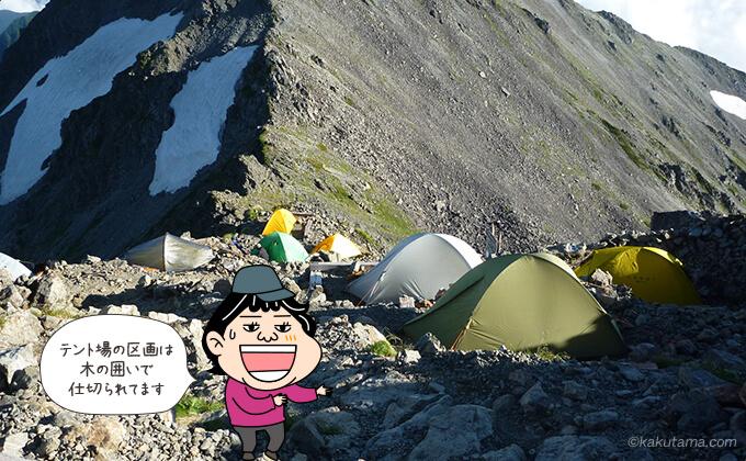 槍ヶ岳山荘のテント場のテント達