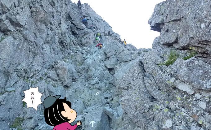 槍ヶ岳のハシゴを見上げる