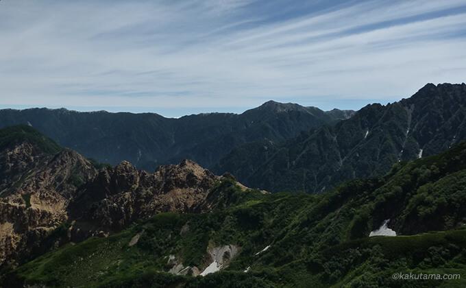西鎌尾根の山並みが綺麗1