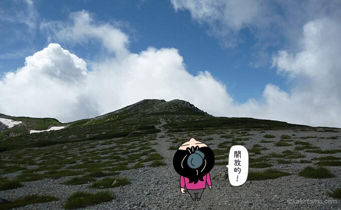 雲の動きの速さを双六岳山頂から見る