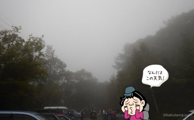 曇りの空の三股駐車場