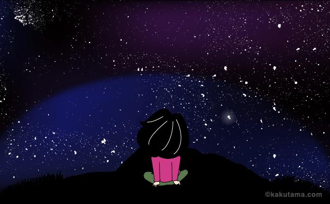 イラスト満天の星空の槍ヶ岳山荘のテント場