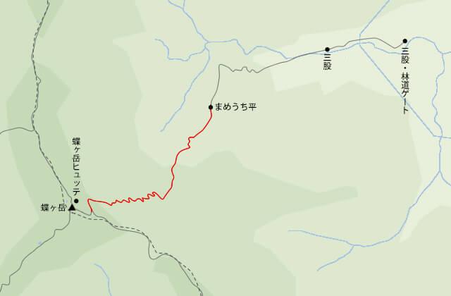 蝶ヶ岳地図まめうち平から大滝山との分岐