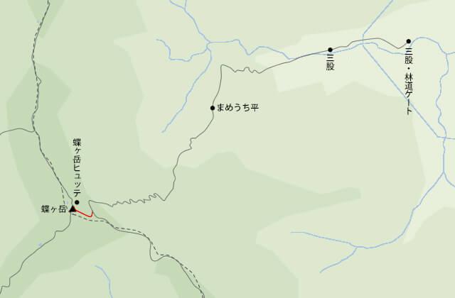 蝶ヶ岳地図大滝山との分岐から蝶ヶ岳山頂