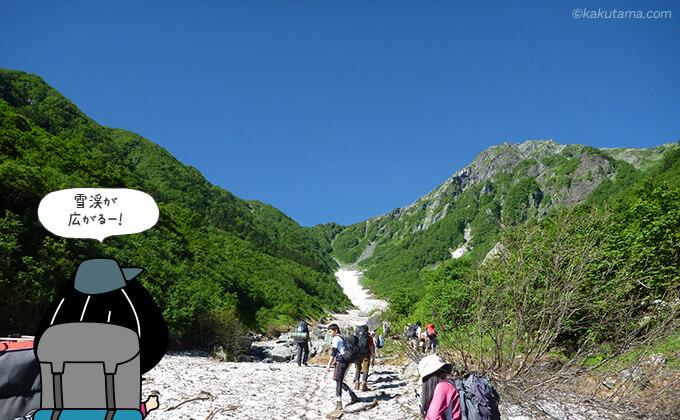 雪渓が広がる