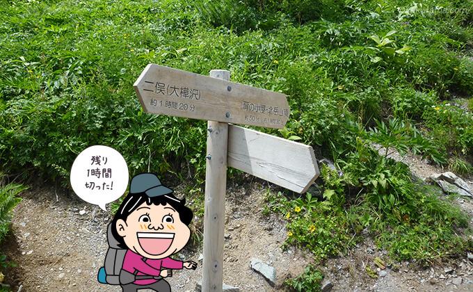 小太郎尾根までの道標