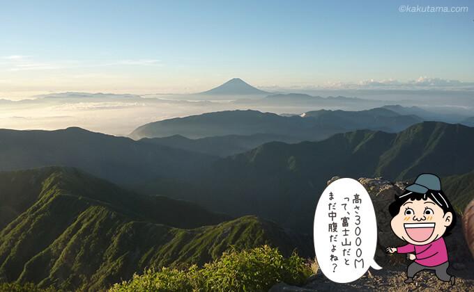 遠くに見える富士山