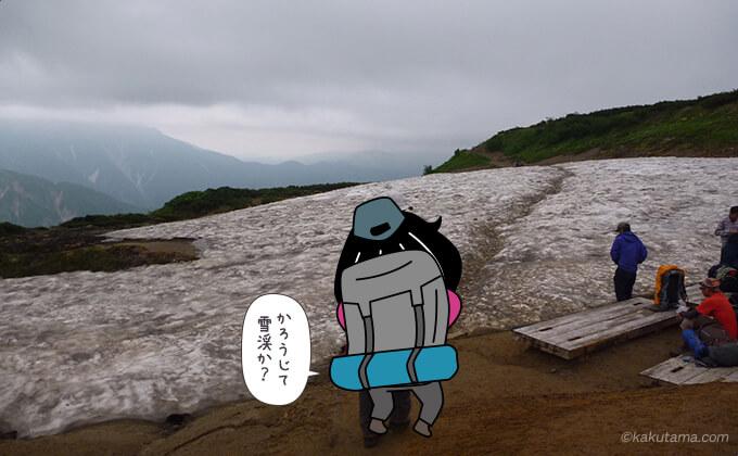 雪渓を横断
