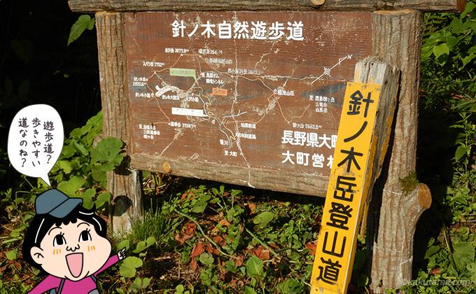 針ノ木岳登山口針ノ木自然遊歩道看板