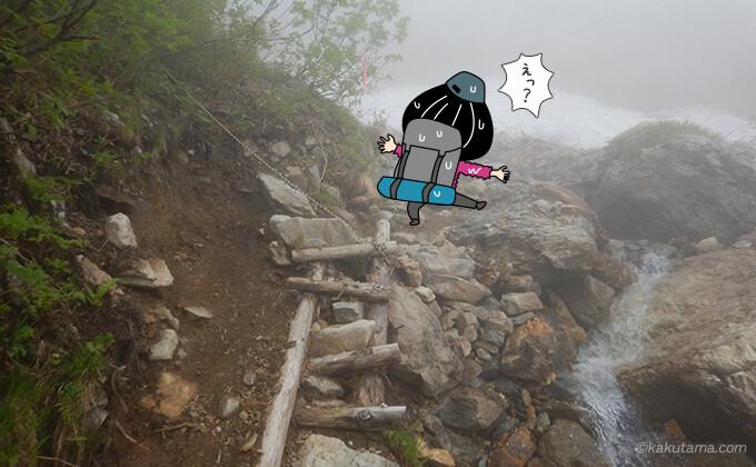 急斜面を上る岩場を登る