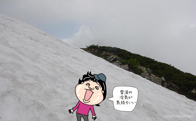 残雪からひんやりとした風が来る