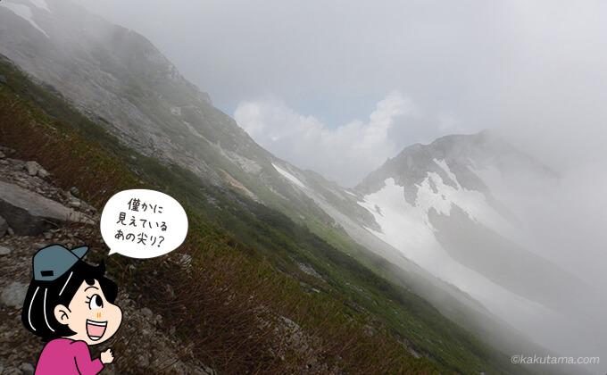 わずかに見てきた針ノ木岳山頂