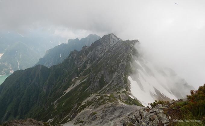 針ノ木岳山頂から見る山山
