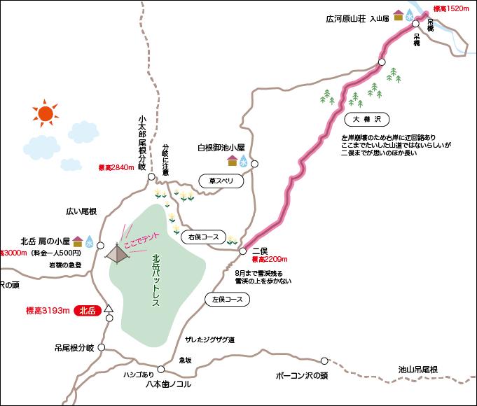 北岳地図広河原から二俣