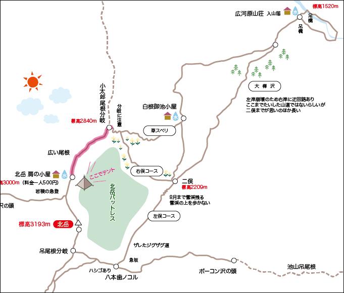 北岳地図小太郎尾根から肩の小屋
