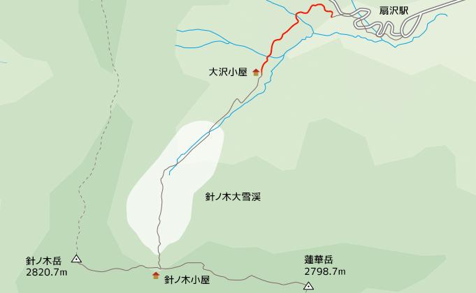地図針ノ木遊歩道から大沢小屋