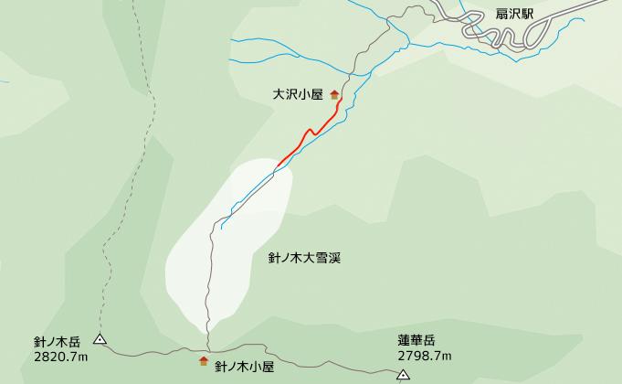 地図大沢小屋から針ノ木大雪渓とりつき