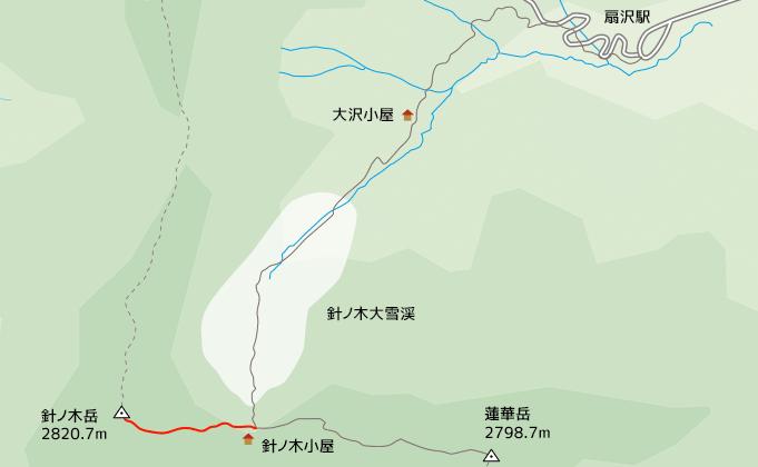地図針ノ木小屋から針ノ木岳