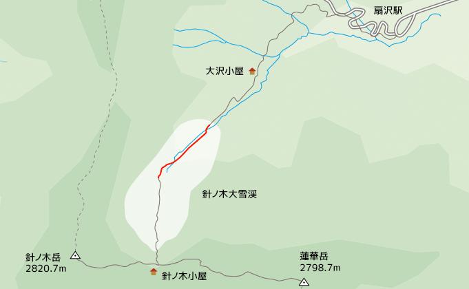 地図針ノ木大雪渓