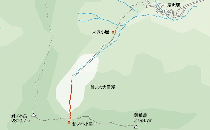 地図針ノ木大雪渓から針ノ木小屋