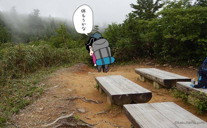 三角点の場所のベンチ