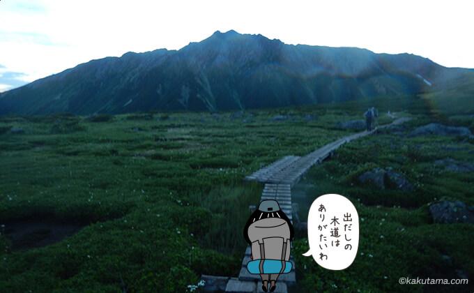 雲ノ平キャンプ場を出て直ぐの木道