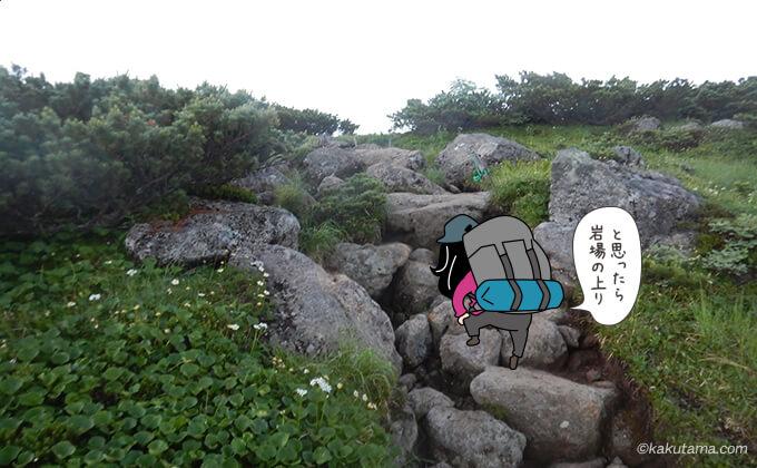 雲ノ平キャンプ場を出て直ぐの木道の後の岩場
