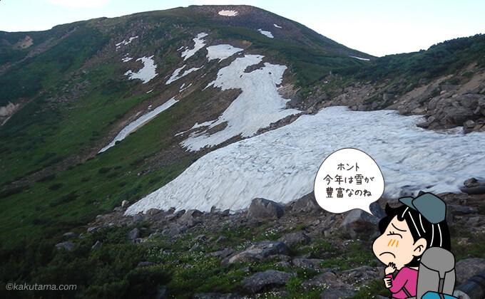 雪渓が現れた