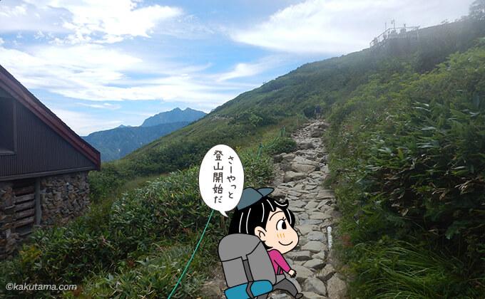 グラードのリフト降り場から登山を開始する