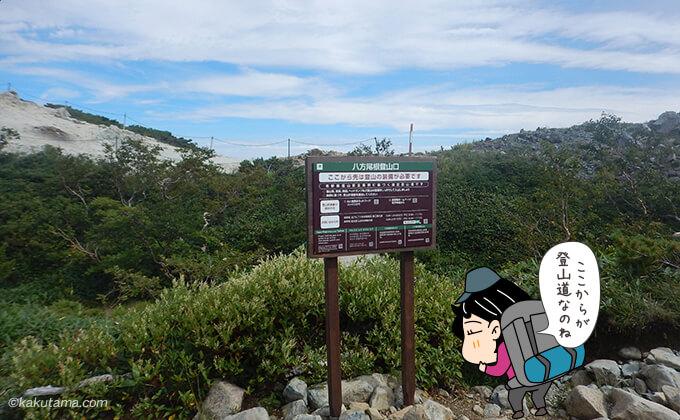 唐松岳登山道注意書き