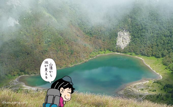 日光白根山の池を上から見た