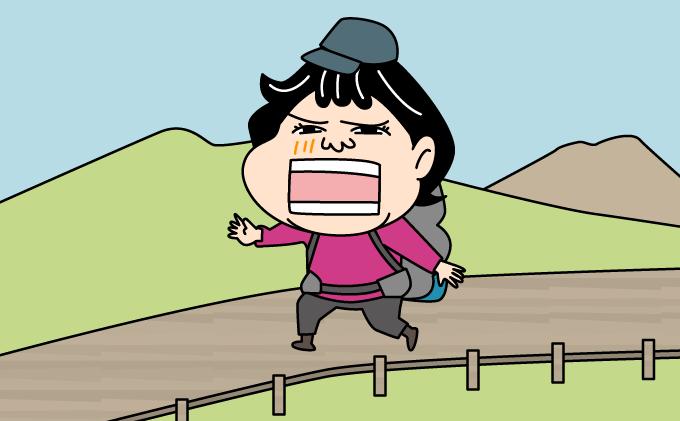 登山道を歩いているイラスト