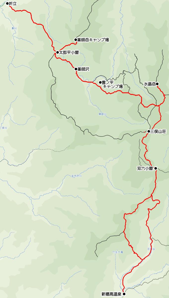 折立から雲ノ平、水晶岳、双六小屋を経て新穂高温泉へ下る地図