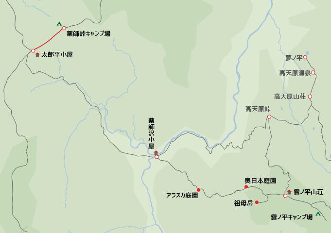 地図薬師峠キャンプから太郎平小屋